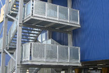 Emergency fire escape staircases